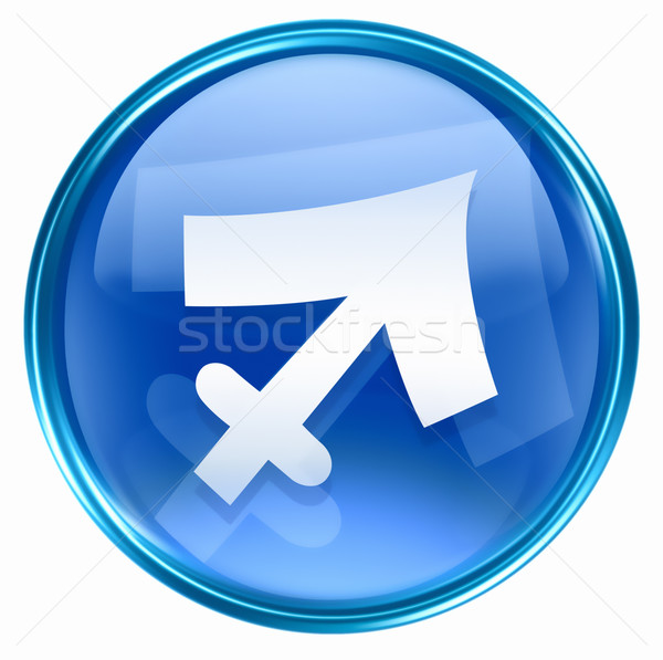 Sagittarius zodiac button icon, isolated on white background. Stock photo © zeffss