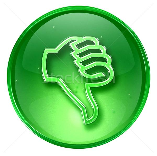 Başparmak aşağı ikon yeşil yalıtılmış beyaz Stok fotoğraf © zeffss