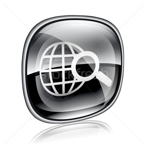 Stock fotó: Földgömb · nagyító · ikon · fekete · üveg · izolált