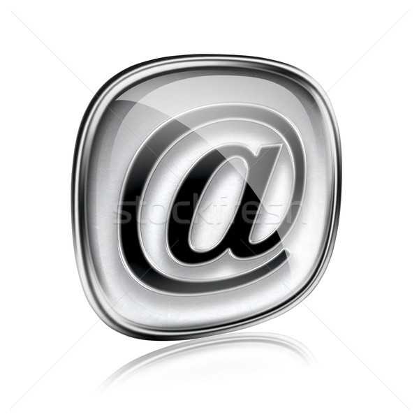 электронная почта икона серый стекла изолированный белый Сток-фото © zeffss