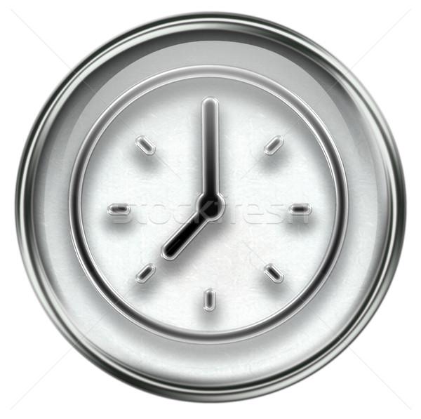 clock icon grey Stock photo © zeffss