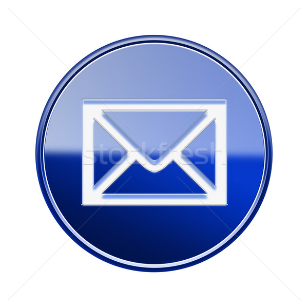 postal envelope icon glossy blue, isolated on white background Stock photo © zeffss
