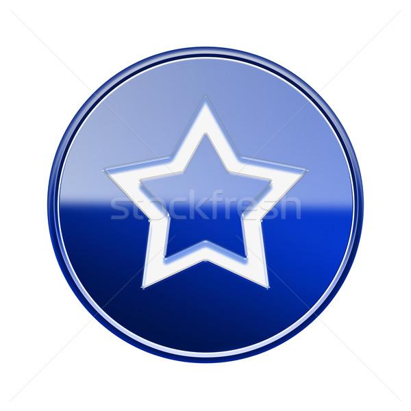 Stock fotó: Csillag · ikon · fényes · kék · izolált · fehér