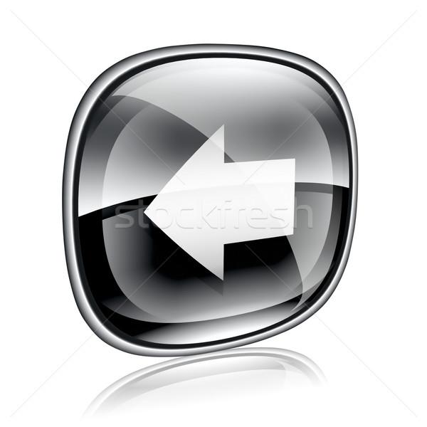 Arrow left icon black glass, isolated on white background. Stock photo © zeffss
