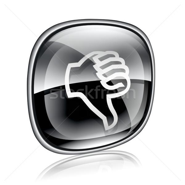 Başparmak aşağı ikon siyah cam yalıtılmış Stok fotoğraf © zeffss
