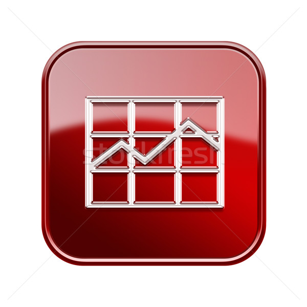 graph icon glossy red, isolated on white background. Stock photo © zeffss