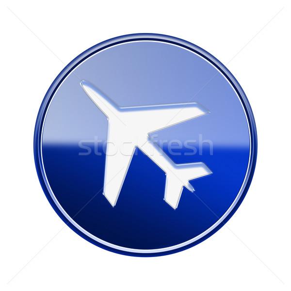 Foto stock: Avião · ícone · azul · isolado · branco