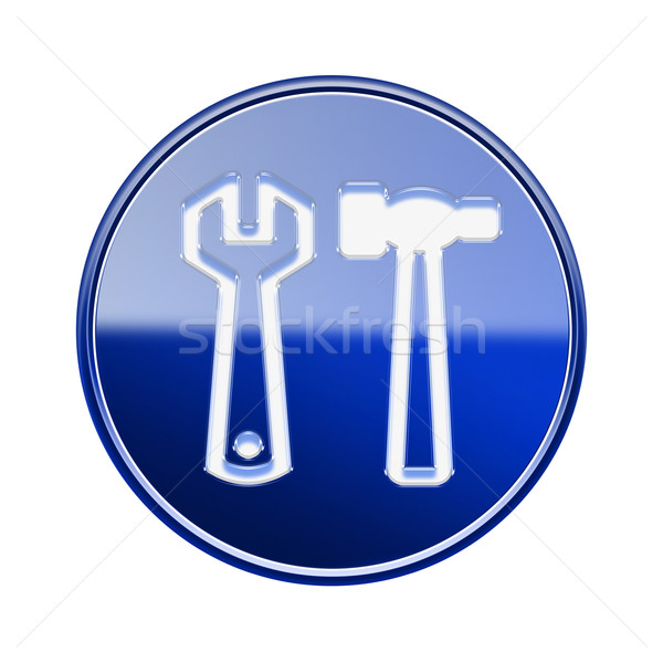 Tools icon glossy blue, isolated on white background Stock photo © zeffss