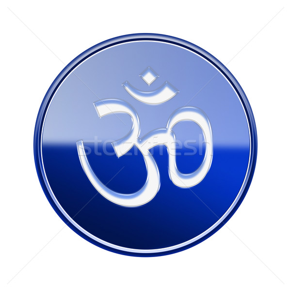 Om Symbol icon glossy blue, isolated on white background. Stock photo © zeffss