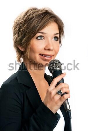 Tv correspondent witte glimlach microfoon vrouwelijke Stockfoto © zeffss
