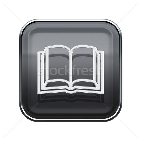 Könyv ikon fényes szürke izolált fehér Stock fotó © zeffss