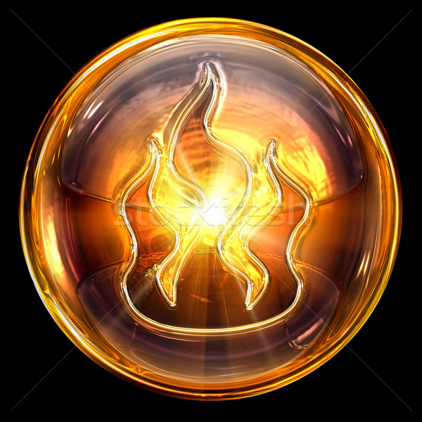 Stock photo: fire icon fire, isolated on black background