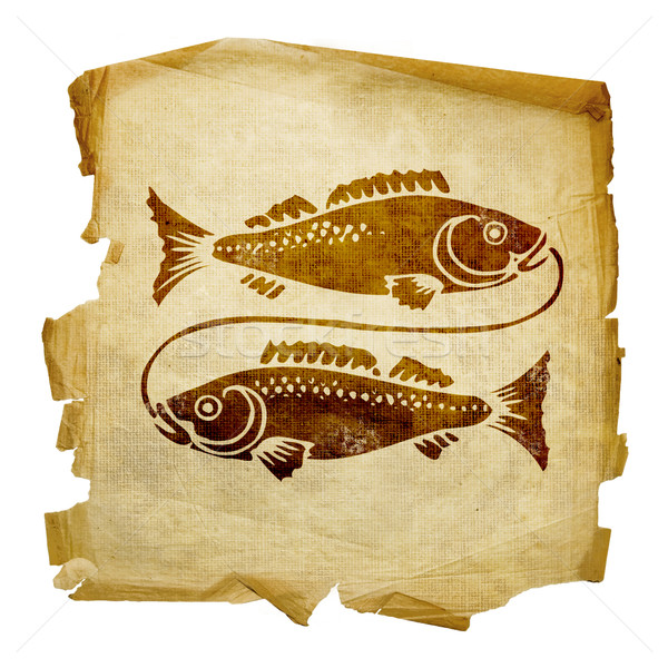 Pisces zodiac old, isolated on white background. Stock photo © zeffss