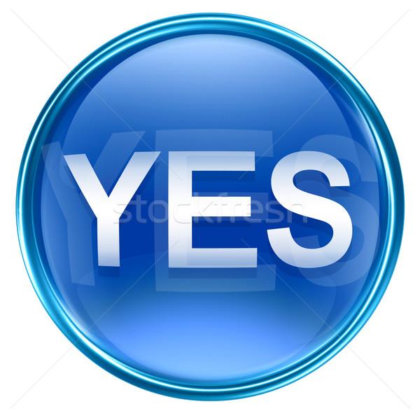 Tak ikona niebieski odizolowany biały przycisk Zdjęcia stock © zeffss
