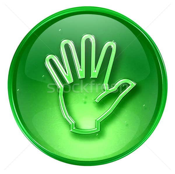 hand icon green, isolated on white background. Stock photo © zeffss