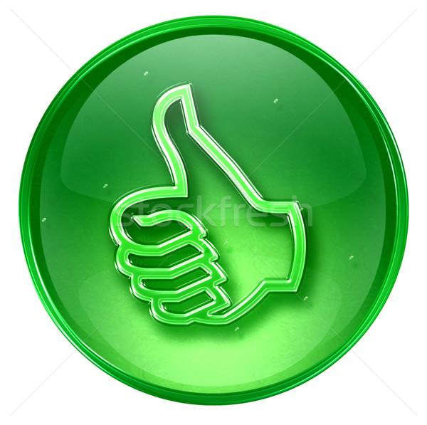 Polegar para cima ícone verde aprovação Foto stock © zeffss