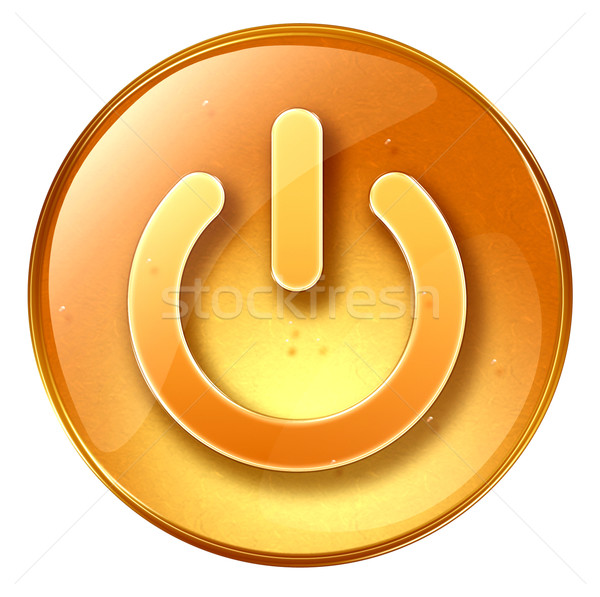 Macht knop Geel geïsoleerd witte computer Stockfoto © zeffss