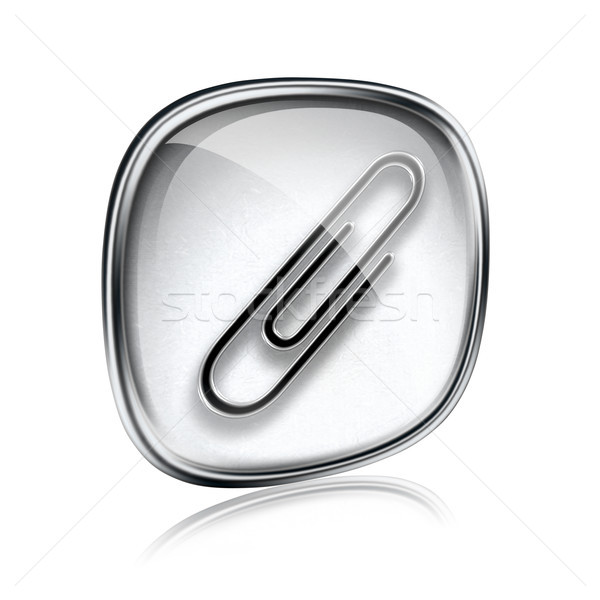 Spinacz ikona szary szkła odizolowany biały Zdjęcia stock © zeffss