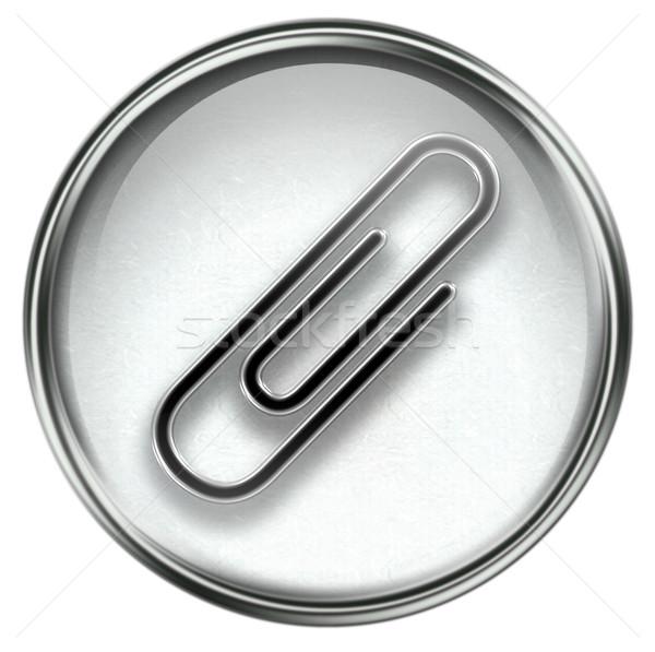 скрепку икона серый изолированный белый интернет Сток-фото © zeffss