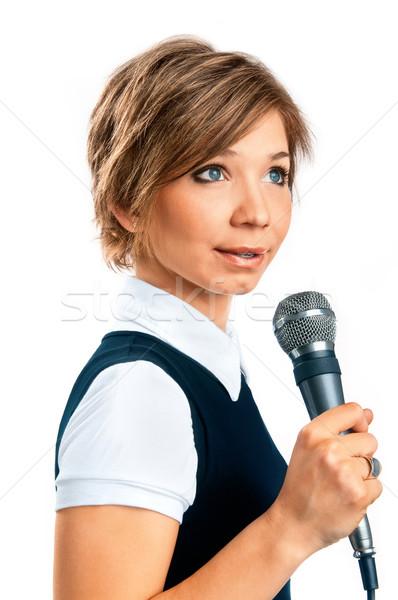 Tv correspondent witte glimlach vrouwelijke studio Stockfoto © zeffss