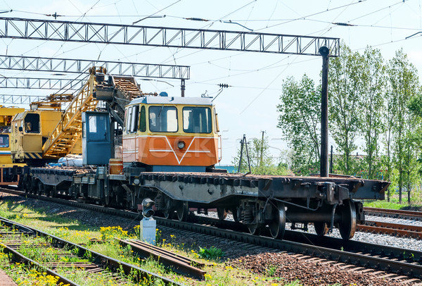 Train with special track equipment at repairs  Stock photo © zeffss