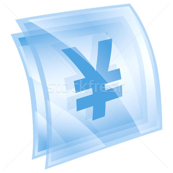 Yen icon blue, isolated on white background Stock photo © zeffss