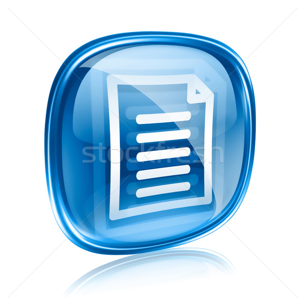 Documento ícone azul vidro isolado branco Foto stock © zeffss