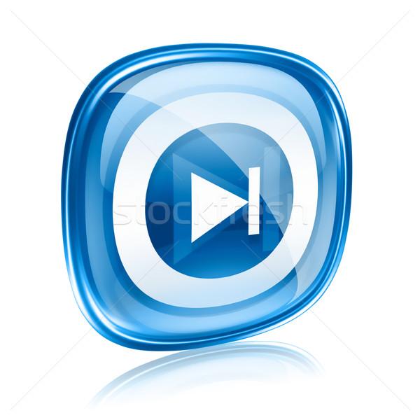 Rewind Forward icon blue glass, isolated on white background. Stock photo © zeffss