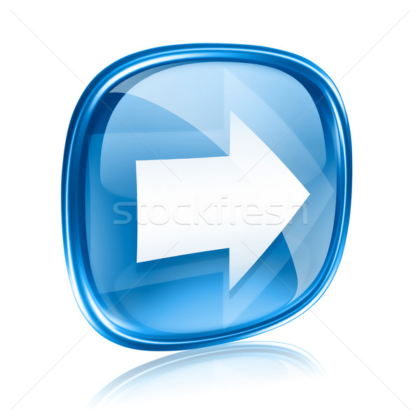 Arrow right icon blue glass, isolated on white background. Stock photo © zeffss