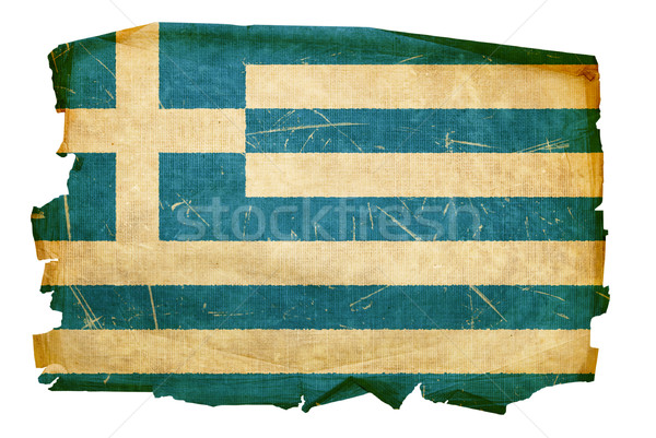 Сток-фото: Греция · флаг · старые · изолированный · белый · бумаги