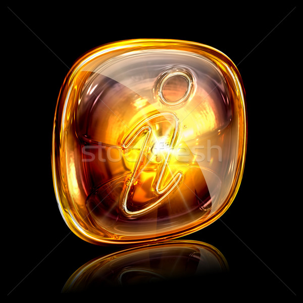 information icon amber, isolated on black background Stock photo © zeffss