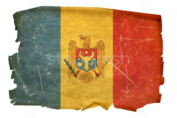 Moldova zászló öreg izolált fehér festmény Stock fotó © zeffss