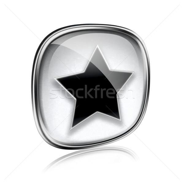 ストックフォト: 星 · アイコン · グレー · ガラス · 孤立した · 白