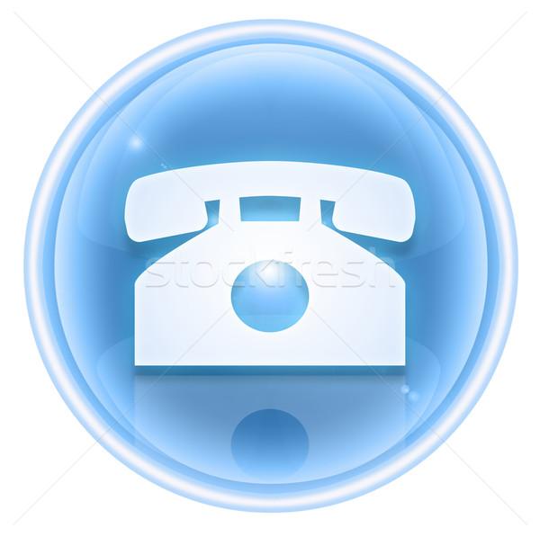 Telefone ícone gelo isolado branco água Foto stock © zeffss