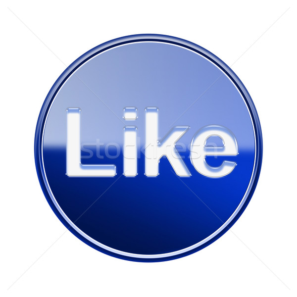Like icon glossy blue, isolated on white background Stock photo © zeffss