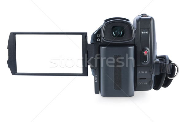 Stock photo: Camcorder with open lcd display, isolated on white background. S
