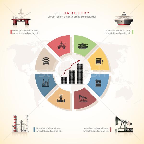 Przemysł naftowy statku oleju wykres pojęcia wektora Zdjęcia stock © zelimirz