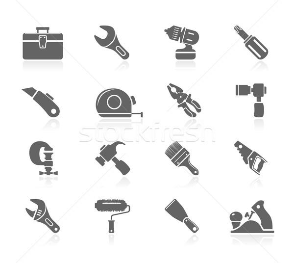 Preto ícones ferramentas mão pintar faca Foto stock © zelimirz
