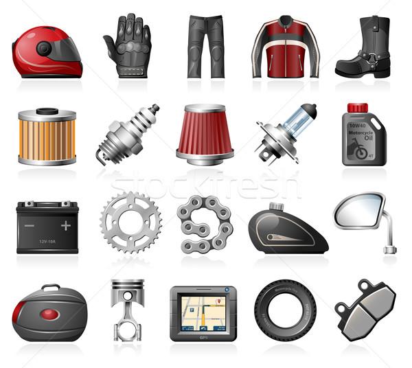 Moto winkel iconen motorfiets onderdelen Stockfoto © zelimirz