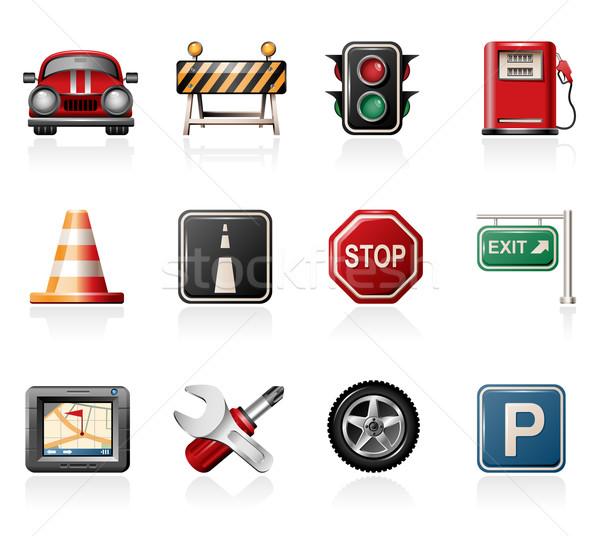 Tráfego ícones carro construção assinar Foto stock © zelimirz