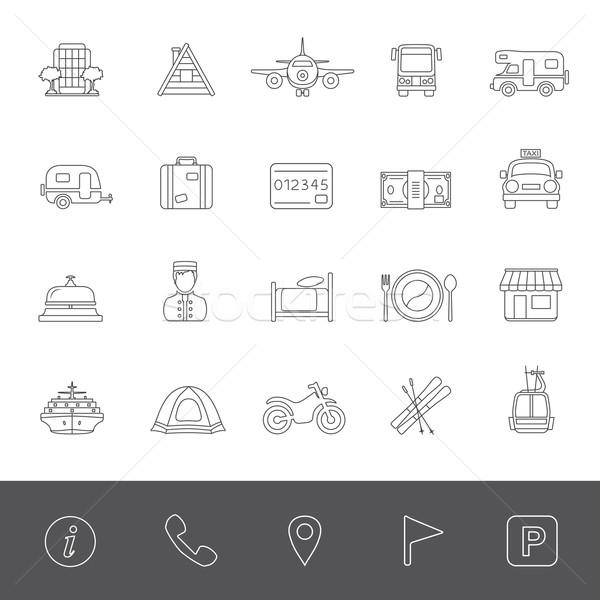 Linha ícones férias viajar dinheiro carro Foto stock © zelimirz