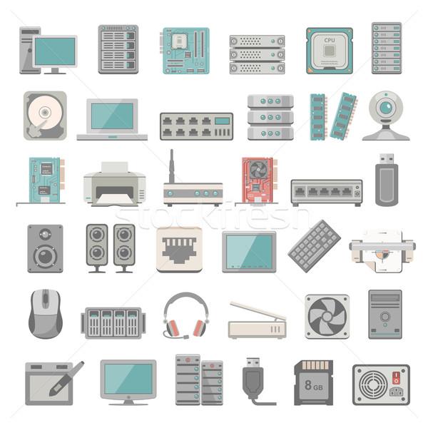 Iconen computer netwerk hardware internet Stockfoto © zelimirz
