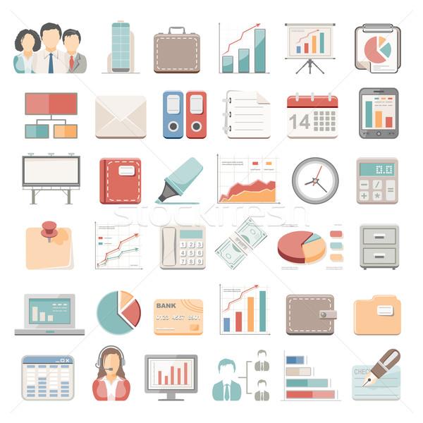 ícones negócio escritório relógio monitor financiar Foto stock © zelimirz