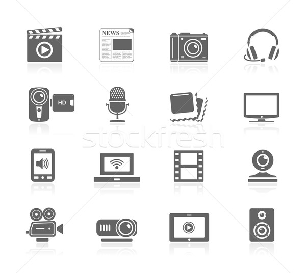 Zwarte iconen multimedia televisie film frame Stockfoto © zelimirz