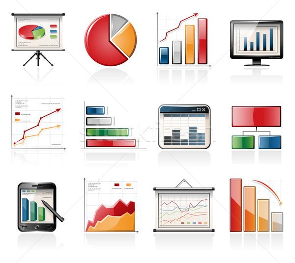 Traçar ícones gráfico negócio monitor apresentação Foto stock © zelimirz