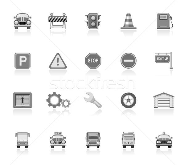 Tráfego ícones carro construção caminhão Foto stock © zelimirz
