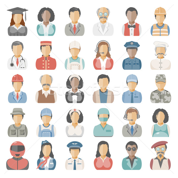 ícones pessoas ocupação homem médico grávida Foto stock © zelimirz