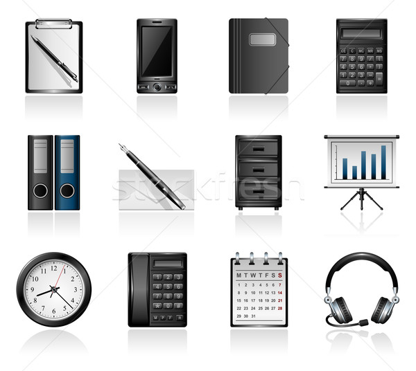 Escritório ícones telefone calendário calculadora Foto stock © zelimirz