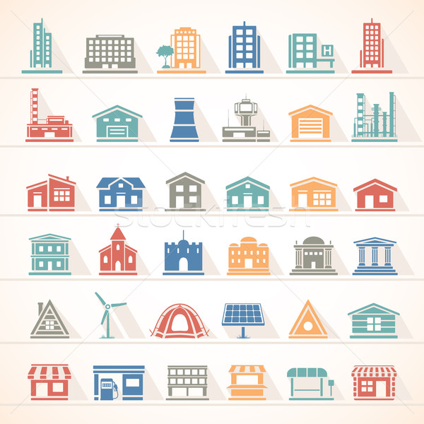 Flat Icons - Buildings Stock photo © zelimirz