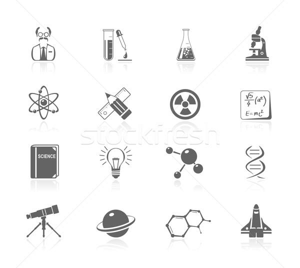 Zwarte iconen wetenschap boek potlood planeet Stockfoto © zelimirz